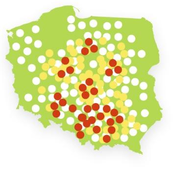 Mapa Polski która pokazuje, gdzie są największe zanieczyszczenia powietrza